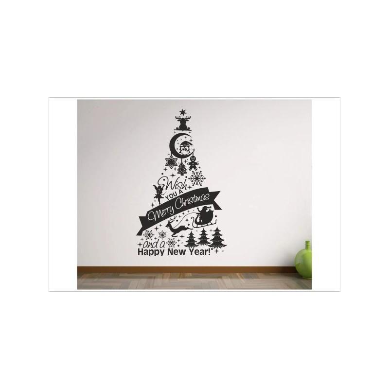 X-MAS Aufkleber Weihnachtsbaum Symbol Zeichen Sterne Frohe ...