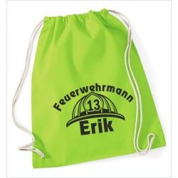 KIDS Turnbeutel Rucksack KULT Feuerwehrmann Helm Feuer Cars + Name  Kinder Gym Sport Tasche