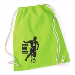 KIDS Turnbeutel Rucksack KULT Fußball Kicker Spieler Trikot Ball + Name  Kinder Gym Sport Tasche