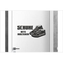 Schuhe BITTE ausziehen Turnschuhe Sneaker Shoe Shoes  Wandaufkleber Aufkleber Wandtattoo