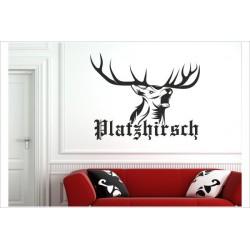 Hirsch Hirschkopf Platzhirsch Geweih Jagd Jäger Landschaft Berge Deer Wandaufkleber Wandtattoo Aufkleber Sticker