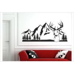 Hirsch Hirschkopf Reh Geweih Jagd Jäger Landschaft Berge Deer Wandaufkleber Wandtattoo Aufkleber Sticker