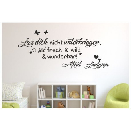 Frech & Wild wunderbar Astrid Lindgren Wandtattoo Wandaufkleber Aufkleber Wand Sticker Spruch