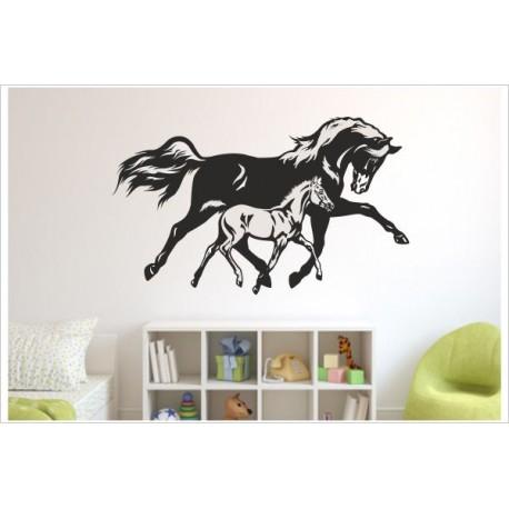 Pferd Pony Stute Fohlen Wandtattoo Wandaufkleber Mutter & Kind Aukleber WAND KIDS