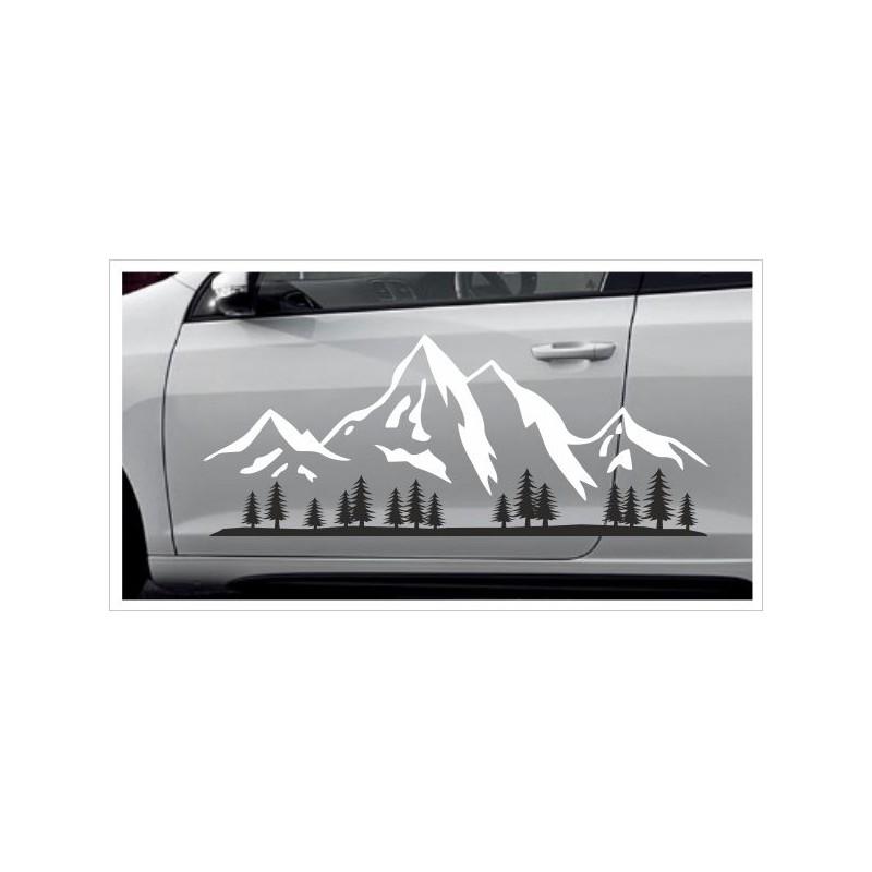 Landschaft 2farbig Berge Offraod Wald Tanne Wälder Alpen Aufkleber Set Autoaufkleber Sticker Der Dekor Aufkleber Shop