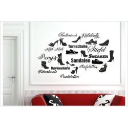 Schuhe High Heels Turnschuhe Keilabsatz Pomps Stiefeletten Sandalen Frauen Shoe Shoes  26x Wandaufkleber Aufkleber Wandtattoo