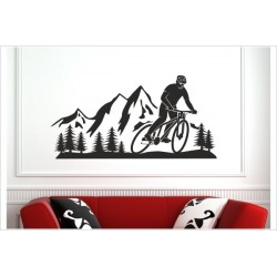 Landschaft Berge Offraod Fahrrad Biker Wand Panorama  Alpen Aufkleber SET Autoaufkleber Sticker