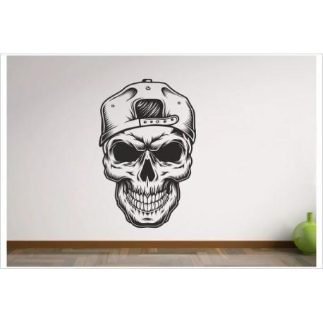Totenkopf Skull Tattoo Hipster Gangster Cappy  Aufkleber Dekor Wandtattoo Wandaufkleber