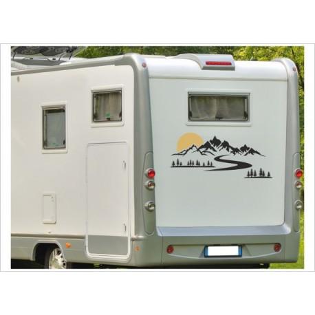 Wohnmobil Wohnwagen Caravan Camper Berge Landschaft Sonne Tanne Wald 2farbig Aufkleber Beschriftung Auto