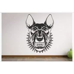 Aufkleber Hund Bulldog Bullterrier Dog Kampfhund Zähne fletschen  Wandaufkleber Wandtattoo