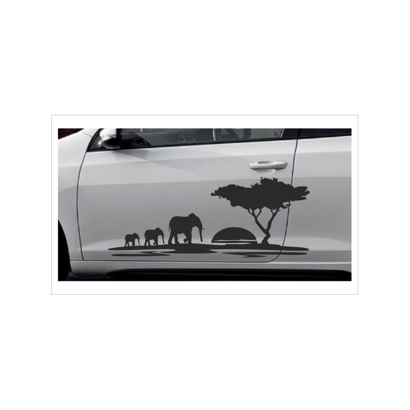 Landschaft Elefant Safari Afrika Auto Aufkleber Offroad 4x4 Car Fahrzeugbeschriftung Der Dekor Aufkleber Shop