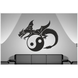 Aufkleber Buddha Indien Drache Dragon Yin Yang Asia Dekor Wandtattoo Wandaufkleber