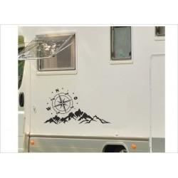 Aufkleber SET Landschaft Berge Kompass Windrose  Wohnmobil Wohnwagen Auto Caravan WOMO