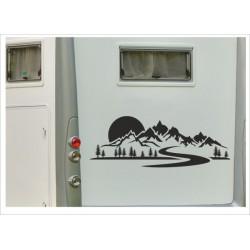 Aufkleber Landschaft Berge Kompass Windrose Wald Tanne Wohnmobil Wohnwagen Auto Caravan WOMO