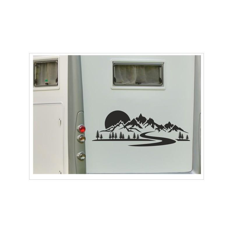 Aufkleber Landschaft Berge Kompass Windrose Wald Tanne Wohnmobil Wohnwagen Auto Caravan Womo Der Dekor Aufkleber Shop
