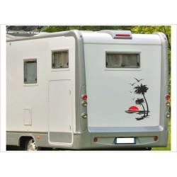 Aufkleber SET Palme Sonne Möwen Möwe Wohnmobil Wohnwagen Caravan Camper 2farbig Aufkleber Auto