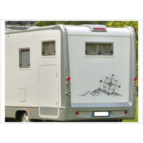 Aufkleber SET Landschaft Berge Sonne Alpen Windrose Kompass  Wohnmobil Wohnwagen Caravan Camper 2farbig Aufkleber Auto