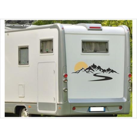 Aufkleber SET Landschaft Berge Alpen Sonne Wohnmobil Wohnwagen Caravan Camper 2farbig Aufkleber Auto