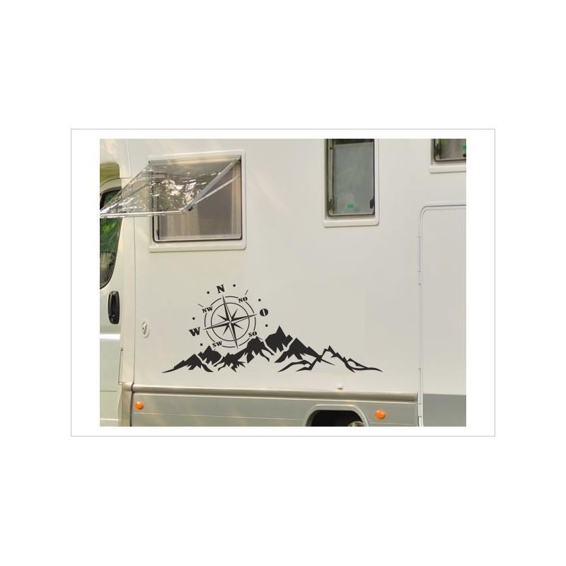 Wohnmobil Aufkleber Set Landschaft Berge Kompass Windrose Panorama Wohnwagen Caravan Camper Der Dekor Aufkleber Shop
