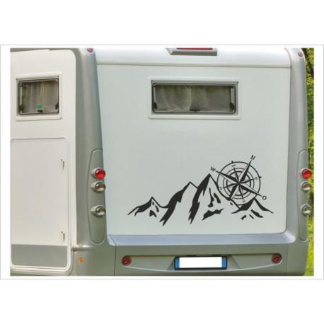 Aufkleber Wohnmobil Landschaft Berge Alpen Panorama Kompass Windrose Wohnwagen Caravan Camper Aufkleber Auto WOMO