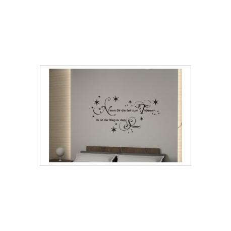 Zeit zum Träumen - Weg zu den Sternen Dekor Wandaufkleber Wandtattoo Aufkleber Wand Tattoo Schlafzimmer
