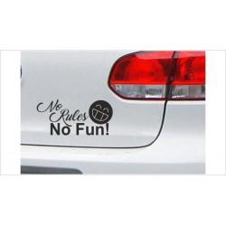"DUB FUN OEM JDM Aufkleber Mini FUN ""No Rules - No Fun"" Auto Aufkleber Sticker"