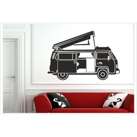 Bulli Bus Kult Wagen 80er Auto Camper Aufkleber Dekor Wandaufkleber Wandtattoo