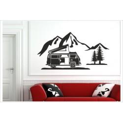 Bulli Bus Kult Wagen 80er Auto Camper Aufkleber Landschaft Berge Wandaufkleber Wandtattoo
