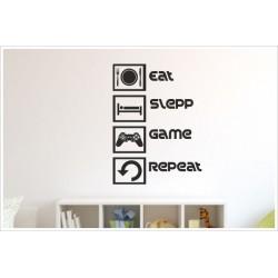 Game Gamer Zocken Konsole EAT SLEEP PS Kontroller Video Games Wandtattoo Wandaufkleber