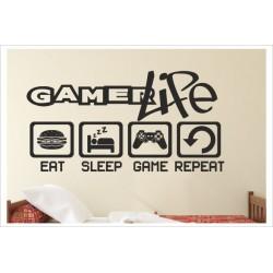 Game Gamer LIFE  Zocken Konsole EAT SLEEP GAME PS Kontroller Video Games Wandtattoo Wandaufkleber