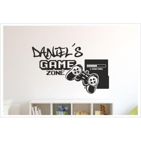 Game + Name Gamer Zocken Konsole Spielen PS Kontroller Video Games Wandtattoo Wandaufkleber