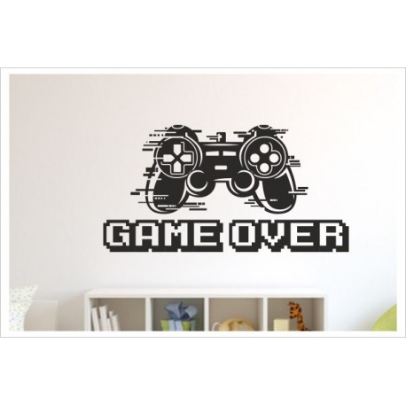 Game OVER Gamer Zocken Konsole Spielen PS Kontroller Video Games Wandtattoo Wandaufkleber