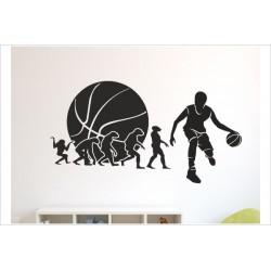 Aufkleber Basketball Evolution Korb Ball Spieler Gamer Sport Kinder Wandaufkleber Wandtattoo