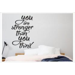"""Aufkleber Spruch """"stronger than you think"""" Selbstvertrauen Glaube Wandaufkleber Wandtattoo"""