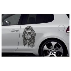 Car Aufkleber SET Totenkopf Sugar Skull Lady Catrina Autoaufkleber Style Tattoo Sticker