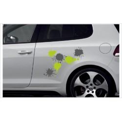 Car Aufkleber SET Farbe Farbklecks Kleckse 6 Stück Autoaufkleber Style Tattoo Sticker