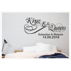 King & Queen + Namen + Datum Aufkleber Mann & Frau Paar Ehe Love Liebe Wandaufkleber Wandtattoo