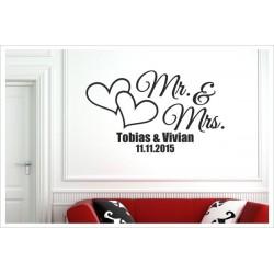 Mr. & Mrs. + Namen + Datum Herz Aufkleber Mann & Frau Paar Ehe Love Liebe Wandaufkleber Wandtattoo