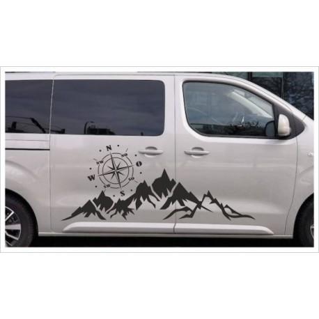 Offroad Aufkleber SET XXL Kompass Windrose Berge Landschaft Panorama Auto Car 4x4
