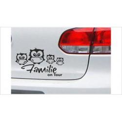 "DUB FUN OEM JDM Aufkleber Mini FUN ""Familie on Tour"" Eule Uhu Auto Aufkleber Sticker"