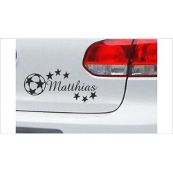 DUB FUN OEM JDM Aufkleber Mini FUN Wunschname Fußball Sterne Kids Kinder Baby Auto Aufkleber Sticker