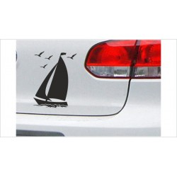 "DUB FUN OEM JDM Aufkleber Mini FUN ""Segelboot Möwe"" Hafen See Meer Boot Auto Aufkleber Sticker"
