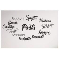 Pasta Nudeln Penne Lasagne Spagetti Maccheroni Cannelloni 12 x Aufkleber SET Wand Wandtattoo