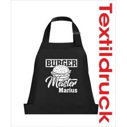 Schürzen KOCH & GRILL Burger Meister Grillen + Name Schürze Grillschürze Kochschürze Geschenk Fun