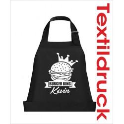 Schürzen KOCH & GRILL Burger King Männer Grillen + Name Schürze Grillschürze Kochschürze Geschenk Fun