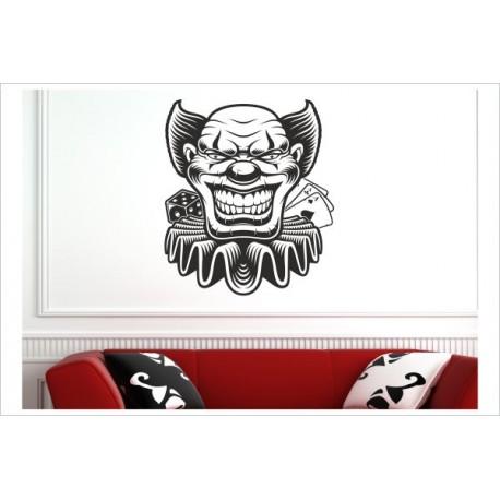 Poker Face Joker Maske Spiel Karten LIFE - GAME Wandaufkleber Wandtattoo Aufkleber Wand