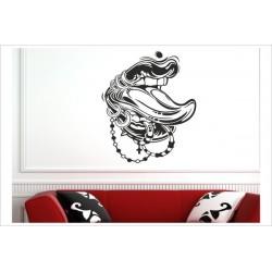 Zunge Piercing Tattoo Ringe Kette Kreuz Frech & Wild Wandaufkleber Wandtattoo Aufkleber Wand
