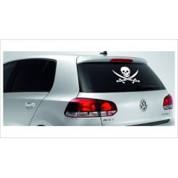 Pirat Schwert Degen Totenkopf Aufkleber Tattoo Auto Car Style Tuning Heckscheibe Lack & Glas