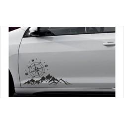 Landschaft Berge Offraod Wald Kompass Windrose  Alpen Aufkleber SET Autoaufkleber