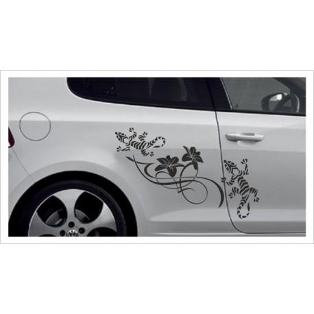 Aufkleber SET Car Style Tattoo Tribal Gecko Echse Blüte Fahrzeuge Seitenaufkleber